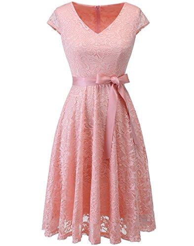Berylove Women's Floral Lace Short Bridesmaid Dress Cap Sleeve Cocktail Party Dress