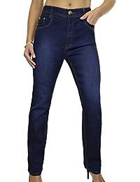 ICE (1529-1) Jeans Droit en Denim Extensible Délavé Bleu