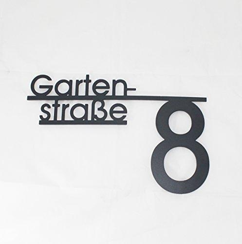 Thorwa Design Hausnummer mit Straßenname oder Familienname/Namensschriftzug (Design 4) Hausnummernschild aus Edelstahl mit Wunschschriftzug/Namen/Schriftzug (40cm x 30cm | RAL 7016 Anthrazit)