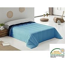 Bonitex - Edredón Nórdico 240x270cm azul marino y turquesa: Tacto Seda, relleno 300gr Fibra Extrasuave y reversible para cama 135/150 x 190/200 cm, varias medidas