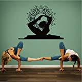 Yoga Bow Pose Mandala Position Vinilo Wall Art Sticker Decal Buddha Decor Home Interior Decals Cosas Para El Hogar 57 * 69Cm.