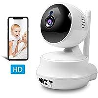 QZT Cámara IP 720P HD, Cámara de Vigilancia WiFi Interior, Casa Seguridad Camara con Visión Nocturna, Detección Movimiento, Email Alarma, Inalámbrico Video Camera para Mascota Oficina Bebé Tienda