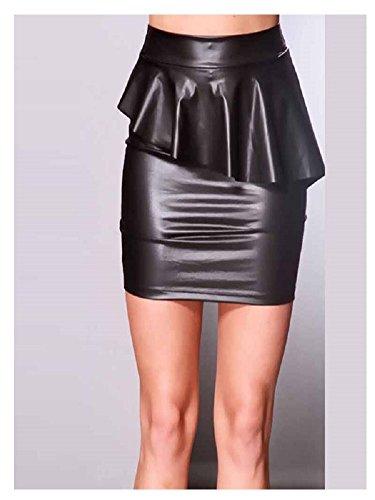 Mini jupe tenue sexy imitation cuir vinyl stretch noir avec volant