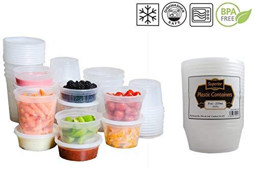 Contenitori per Alimenti con Coperchio, Plastica, 8oz - 235ml, 10 Pezzi