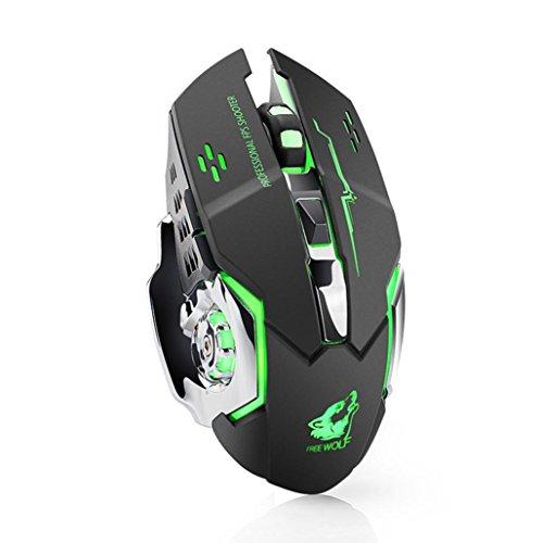 Prevently Wireless Gaming Maus Kabellose Maus Wiederaufladbare X8 Wireless Silent LED Hintergrundbeleuchtung USB Gaming Mouse Silent Desktop Computer Notebook Ladung Gaming Mouse (Schwarz) (Rad-schlüssel Mouse (wired)