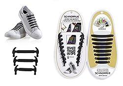 SCHNÜRRLIE elastische Silikon Schnürsenkel ohne Binden für Kinder & Erwachsene, 16 Stück in 8 Größen, Farbe Schwarz