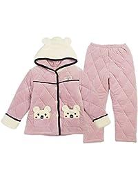 0ddc744137 OPPP Pijamas de niños Niñas Acolchadas Pijamas de Invierno de Tres Capas  Acolchadas Gruesa Franela cálida Servicio a Domicilio Traje de niño…