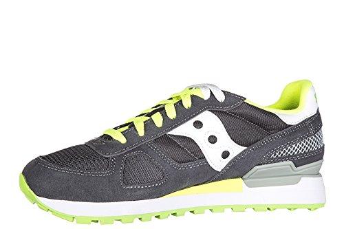 Sneaker Saucony Shadow in suede e tessuto grigio antracite Grau