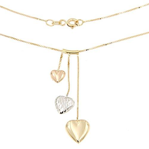 Lucchetta - SchmuckKette Tricolor Gold mit Anhänger Damen Herz,Halskette Gold 14Karat mit Drei Herzen Handgefertigte Gravur 1.98gr