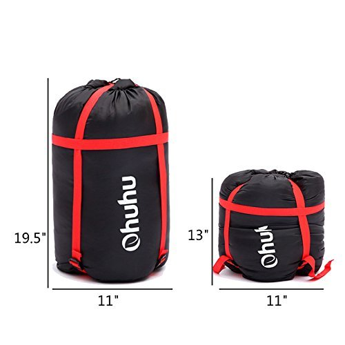 Ohuhu 86″x 59″ Huge Double Sleeping Bag with 2 Free Pillows and a Carrying Bag, Four Double Zipper Pullers