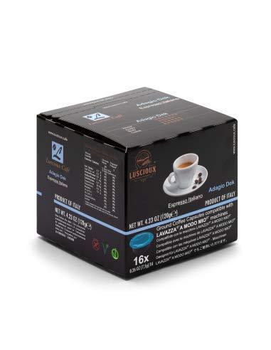 Luscioux adagio dek capsule lavazza compatibili a modo mio | decaffeinato aroma intenso | confezione da 12 [totale 192 capsule]