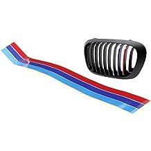PRESKIN – Aufkleber für Kühler Grill in M3 Farben, Nieren Gitter Tape für BMW   Kidney Sticker reflektierend   Tricolore Niere in hellblau dunkelblau rot
