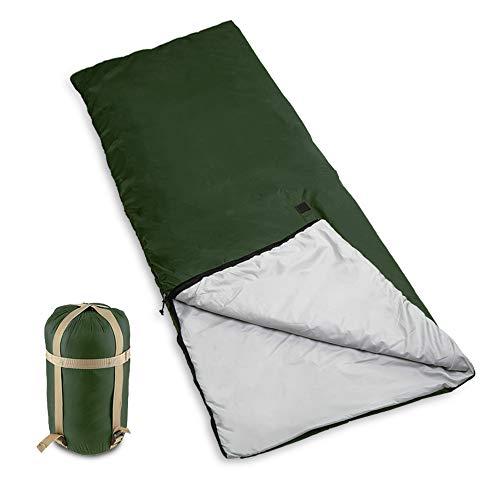 Bessport Schlafsack Ultraleicht 800g für 3 Jahreszeiten, 320T Nylon 100{3d795afd8d795082cae8957c36e2db6337949d99f6677fa6dba70970ba10eb0f} sprüh gebundene Baumwolle 120g/m² Füllung Deckenschlafsack mit Kompressionsbeutel für Sommer Camping (Olive)