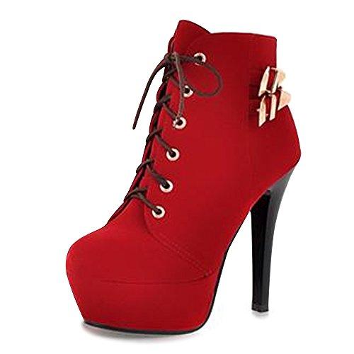 OCHENTA Femme Bottines A Lacets Talons Aiguilles Hauts Suedine Plateforme Chaussure Mode Club Rouge