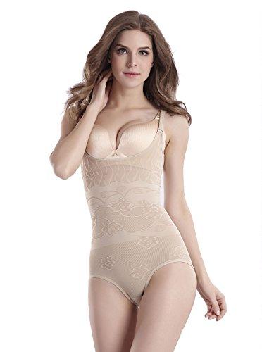 Umipubo shapewear donna dimagrante corsetto corpo shaper traspirante intimo modellante regolabile body snellente bodysuit (l (vita 73-79 cm), beige)