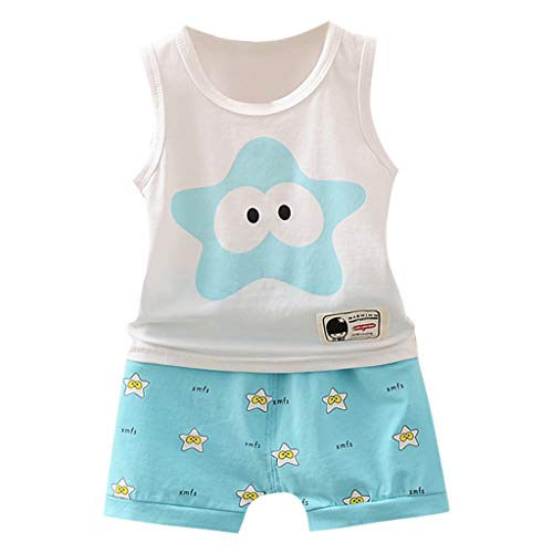 Jungen Mädchen Unisex KinderKleidung, Yanhoo Baby Kind Cartoon Kurzarm Weste Shirt Shorts Outfits Ärmellos Cartoon Starfish Print Set Unisex Kurze ()