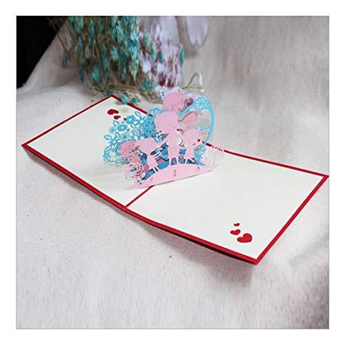 ZHOUBIN 2 fogli/set Carving and Hollowing Out 3D Cards/Greeting Cards/Regali di Natale Capodanno/Auguri di compleanno/Insegnanti e studenti