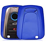 kwmobile Accessoire Clef de Voiture pour BMW - Coque en Silicone pour Clef de Voiture Smart Key BMW 4-Bouton - Housse de Protection Bleu Haute Brillance
