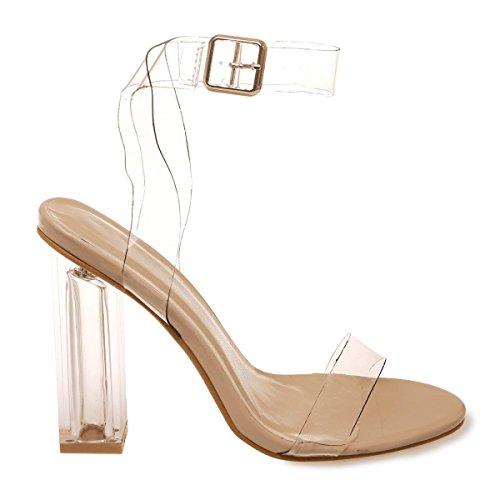 La Modeuse - Sandales à talon épais carréet transparent Beige