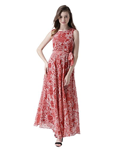 MsFQ Women's A-Line Maxi Dress (FDRF501215-red-L)