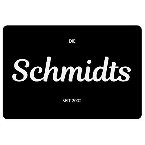Personalisierte Fußmatte mit Name schwarz - Geschenk Schmutzfangmatte für außen und innen mit Familiennamen
