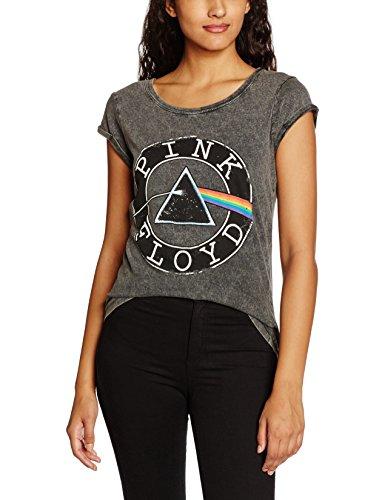 Rockoff Trade Damen T-Shirt Vintage Circle Logo Acid Wash Grau