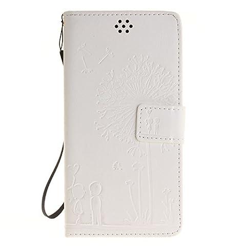 Qiaogle Téléphone Coque - PU Cuir rabat Wallet Housse Case pour Lenovo K3 Note A7000 / K50-t5 4G LTE (5.5 Pouce) - TX29 / Couple Pissenlit (Blanc)