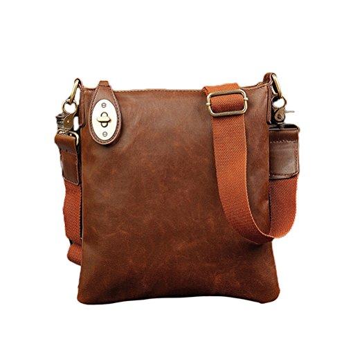 Preisvergleich Produktbild Nasis Herren Mini PU Leder Handtasche / Umhängetasche / Schultertasche 25x28x5cmAY4004 (Braun)