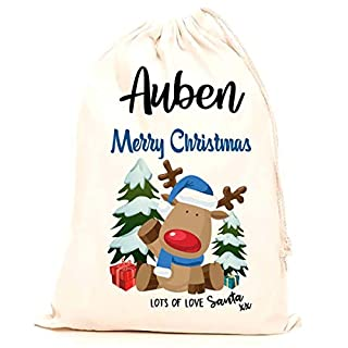 Treat Me Suite Auben personalised name Christmas santa sack, stocking printed with a blue reindeer (75x50cm) 100% Cotton Large. Children, Kids, making it the perfect keepsake xmas gift/present.