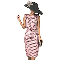 Vestido De Cóctel Lunares Sin Mangas Elegantes Vintage Verano Lápiz Vestidos De Fiesta Mujer Cortos Rosa 3XL