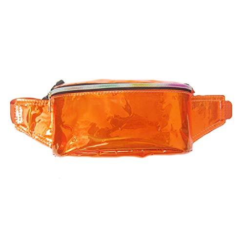 Sccarlettly Gürteltasche Hologramm Mesh Durchsichtig Farbe Casual Chic Fanny Pack Wasserdicht Tasche Perfekt Für Wanderungen Und Festivals Gold Taschen (Color : Orange, Size : One Size) -