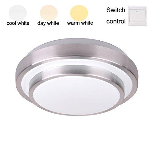 ZHMA 36W LED Deckenlampe Alu-Seiten Deckenleuchte Doppelschicht, 3 farbe warmweiß(18W)/KaltWeiß(18W)/neutrales(36W)Badlampe Wandlampe Lampe Leuchte, LED deckenlampen bad, Wohnzimmerlampe (Bad Leuchte Seite)