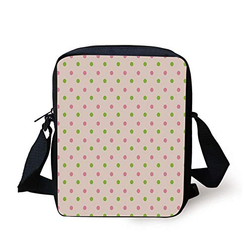 Polka Dots,Pastel Color Polka Dots Highbrow Style Female Woman Aged Stylish Heritage Theme,Pink Green Print Kids Crossbody Messenger Bag Purse