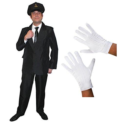 ILOVEFANCYDRESS Chauffeur Limo Fahrer=KOSTÜM VERKLEIDUNGS Set=Schwarze MÜTZE Aufschrift =CC Chauffeurs Club+Schwarze Krawatte+Weisse Handschuhe +SCHWARZER Hosenanzug-4 GRÖSSEN=XLarge (Weiße Chauffeur Kostüm)