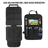 Autositzauflage+Auto-Rückenlehnenschutz, cozywind Premium Kindersitzunterlage ISOFIX Geeignet, Rücksitzschoner Trittschutz mit Rücksitz-Organizer inklusive iPad-Tablet-Fach
