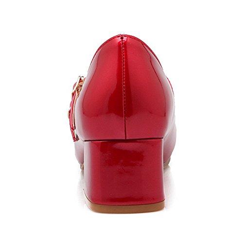 AllhqFashion Femme Couleur Unie Verni à Talon Correct Boucle Rond Chaussures Légeres Rouge