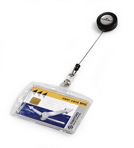 Durable 801219 Namensschild Hartbox mit Ausweiskartenhalter, Packung à 10 Stück transparent