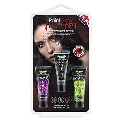 PaintGlow Fright Fest Hängepackungen von Liquid Latex Halloween Make-up, Glow in The Dark Body Paint, UV Face Paint, UV Body Paint, Fake Blut, Real Fake Blut, Spirit Gum, Narbenwachs