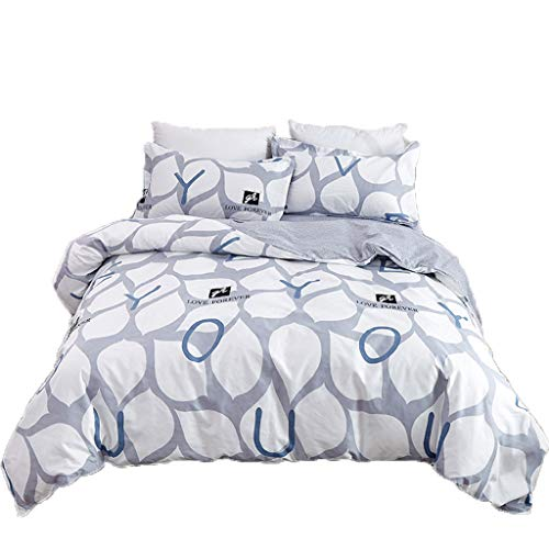YEARNLY 3tlg 1x Bettwäsche 150x200 cm mit 2 Kopfkissenbezügen Einfache Liebe Muster 3-teiliger Set Bettbezug Microfaser Reißverschluss Basic Collection Grau-Blau -