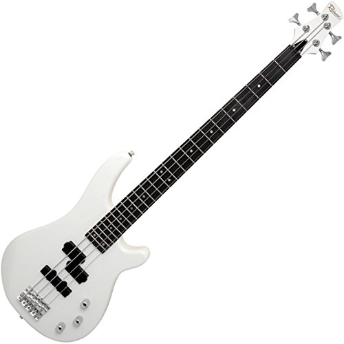 Redwood RB160 Electric 4-String Bass Guitar, Solid Alder Body - White