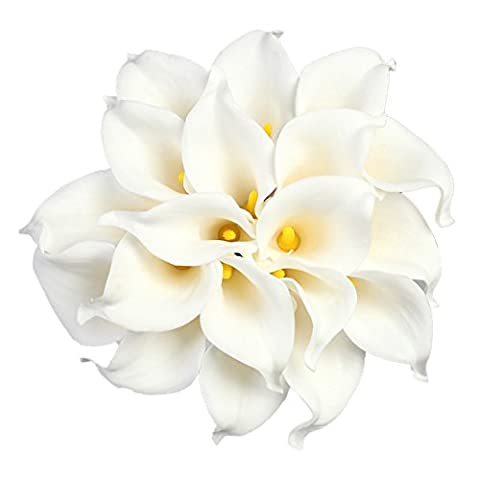 Calla Lily Bridal Wedding Party Decor Bouquet PU Real Touch Flower Artificial Flowers (10 PCS, White)