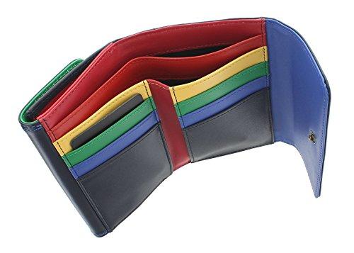 Borsa Multicolore in Pelle Tula Collezione VIOLET 7477 Abbronzato Blu marino