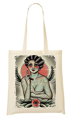 Lady Shaves Her Beard Funny Jokes Traditional Tattoos Style Bolso...