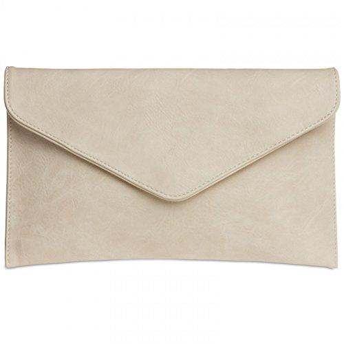 CASPAR TA310 Damen Envelope Clutch , Farbe:nude