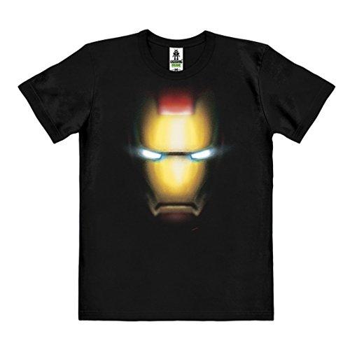 Marvel Comics - Iron Man Faccia T-Shirt - maglietta organico - nero - design originale concesso su licenza - LOGOSHIRT, taglia XXL