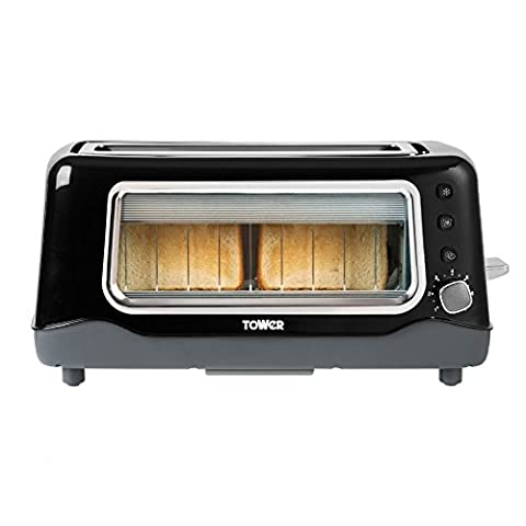 Tower T20011 2 Slice Long Shot Glass Toaster, Variable Browning Control, Black