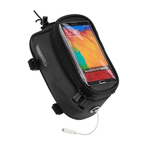 Tofern Fahrrad Radfahren Rahmentasche Oberrohrtasche Handytasche Handyhalterung Navigation Halterung geeignet für iPhone Samsung LG Sony Nexus HTC 4,5~5,5 Zoll - reine Farbe - Schwarz, 5 ~ 5,5 Zoll