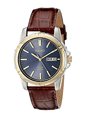 Seiko SNE102 Men's Quartz Two Tone Blue Dial Brown Leather Strap Watch