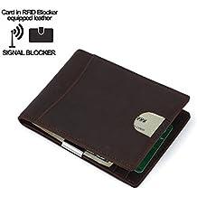 Cartera RFID para Hombre, Billetera RFID  Monedero para Hombre y Seguro Billetera Delgada, Capacidad Para Múltiples Tarjetas, Protector de Tarjeta de Crédito