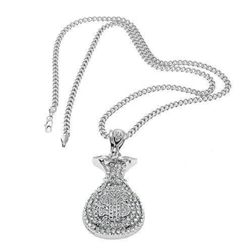 det Halskette für Herren Silber mit Zirkonia $ Geldbeutel Anhänger Kette Silber Hip Hop Freundschaftskette Panzerkette Lange 70 CM (Anzüge Für Zierliche Männer)